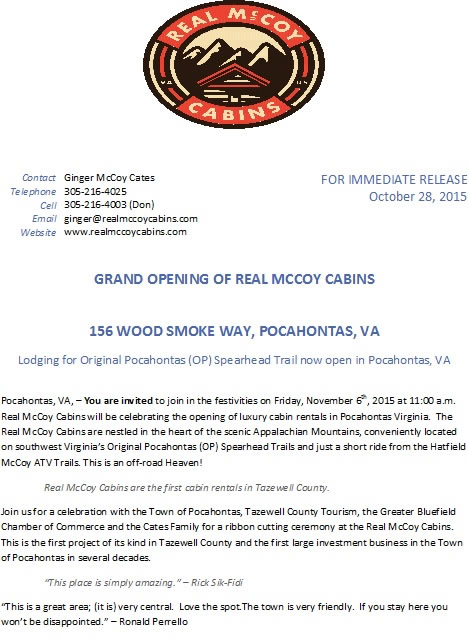 GRAND OPENING OF REAL MCCOY CABINS 156 Wood Smoke Way, Pocahontas, VA Lodging for Original Pocahontas (OP) Spearhead Trail now open in Pocahontas, VA